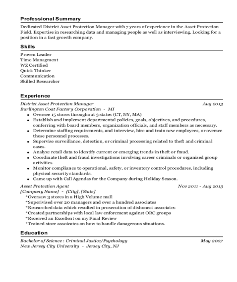 District Asset Protection Manager resume example Connecticut