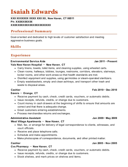 Environmental Service Aide resume example Connecticut