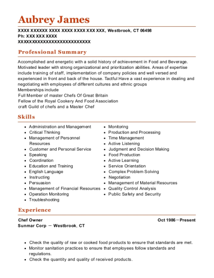 Chef Owner resume example Connecticut