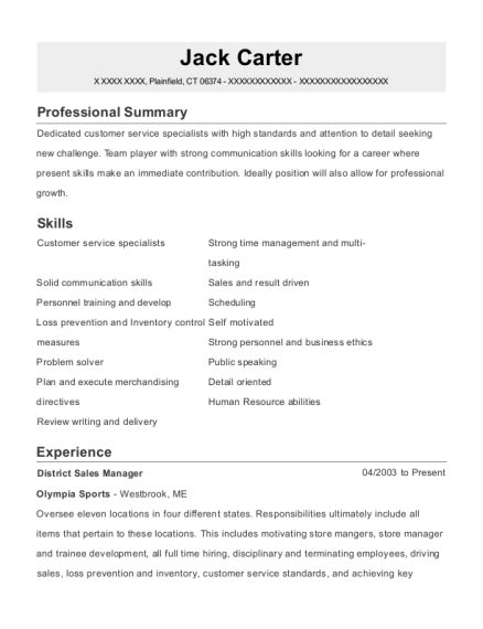 District Sales Manager resume sample Connecticut