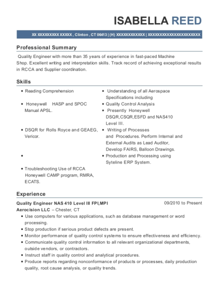 Quality Engineer NAS 410 Level III FPI resume sample Connecticut