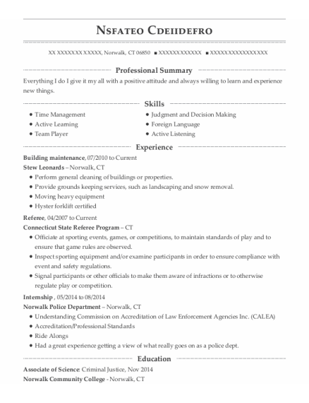 Building maintenance resume example Connecticut
