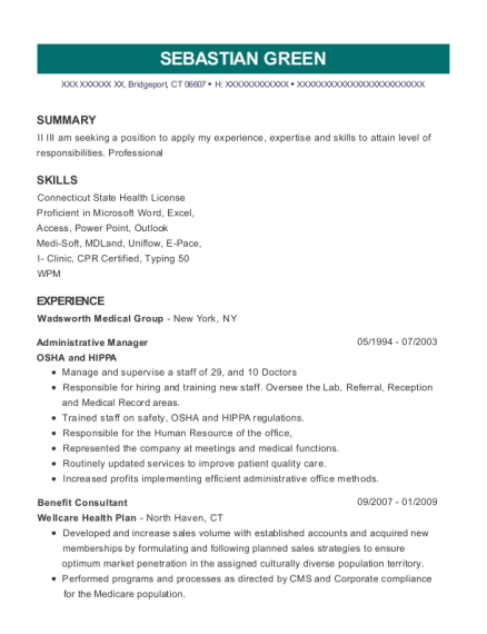 Administrative Manager resume sample Connecticut