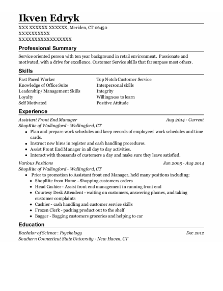 Assistant Front End Manager resume template Connecticut