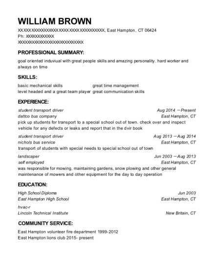 student transport driver resume template Connecticut