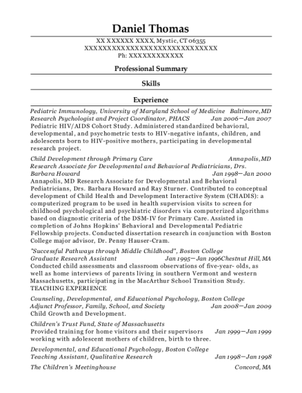 Research Psychologist and Project Coordinator resume sample Connecticut