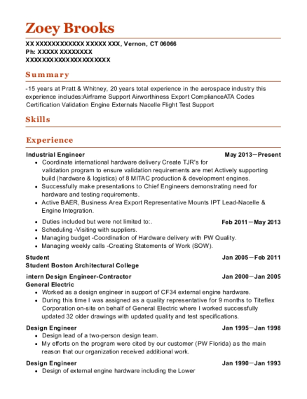Industrial Engineer resume template Connecticut