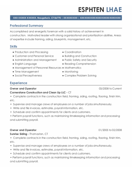 Owner and Operator resume example Connecticut