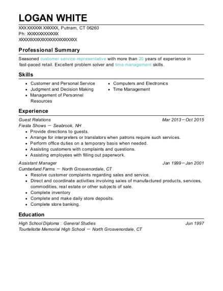 Guest Relations resume example Connecticut