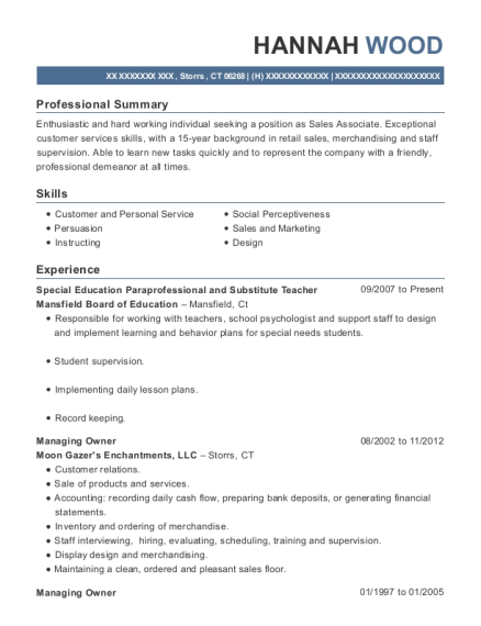 Special Education Paraprofessional and Substitute Teacher resume format Connecticut