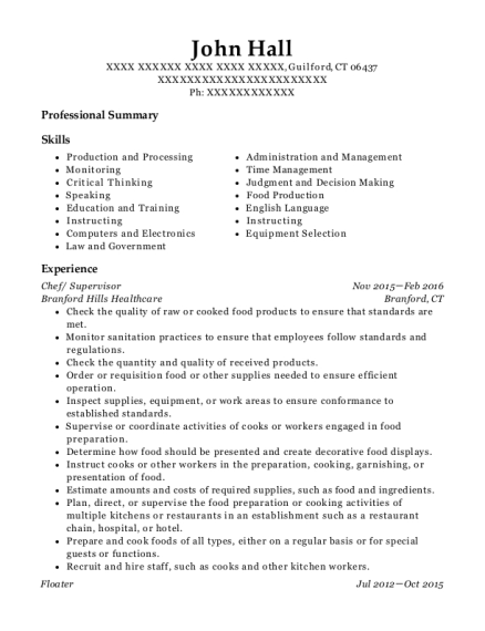 Chef resume example Connecticut