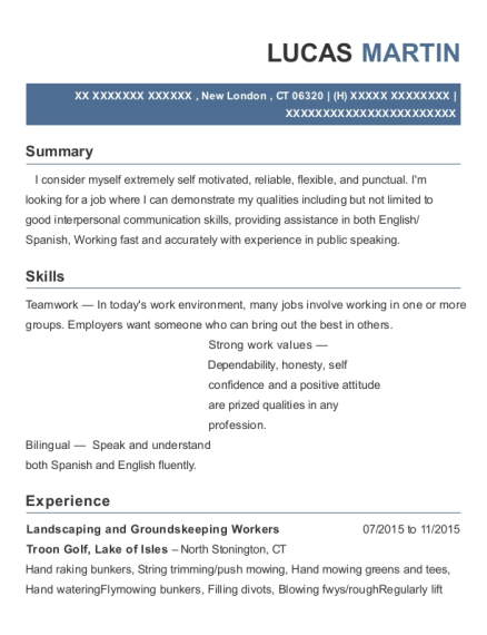 Landscaping and Groundskeeping Workers resume format Connecticut