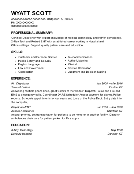 911 Dispatcher resume format Connecticut