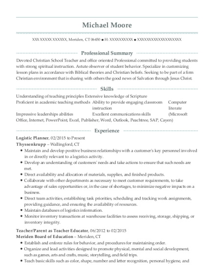 Logistic Planner resume sample Connecticut