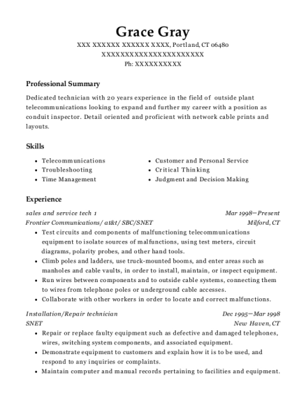 sales and service tech 1 resume sample Connecticut