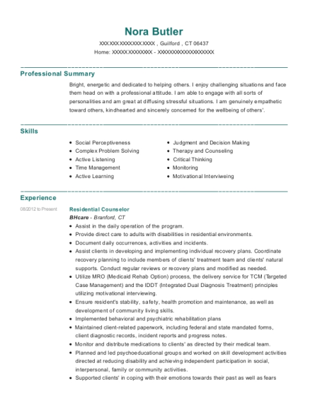 Residential Counselor resume sample Connecticut
