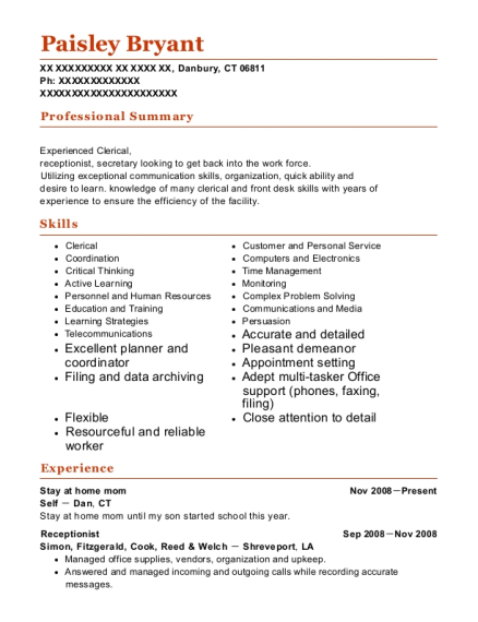 Stay at home mom resume sample Connecticut