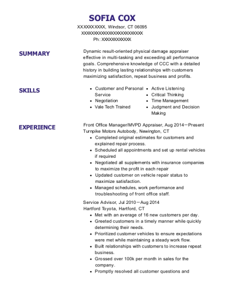 Front Office Manager resume example Connecticut