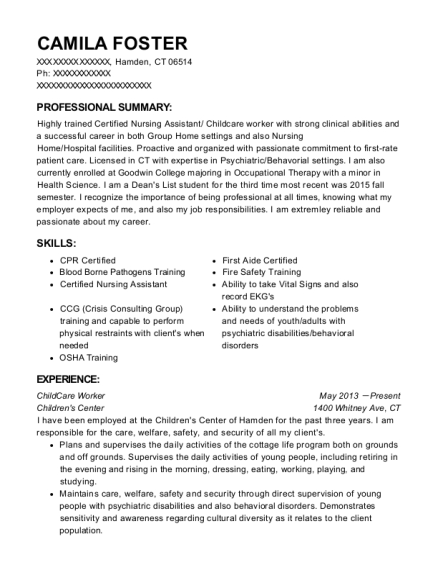 ChildCare Worker resume format Connecticut