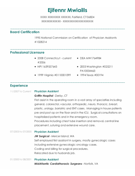 Physician Assistant resume example Connecticut