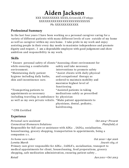 Personal care assistant resume example Connecticut