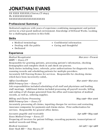 Medical Receptionist resume format Connecticut
