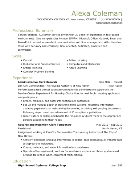 Administrative Clerk Records resume format Connecticut