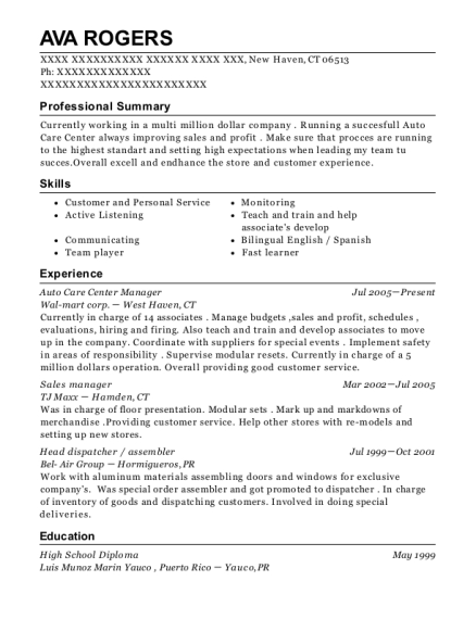 Auto Care Center Manager resume sample Connecticut