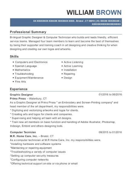 Graphic Designer resume sample Connecticut