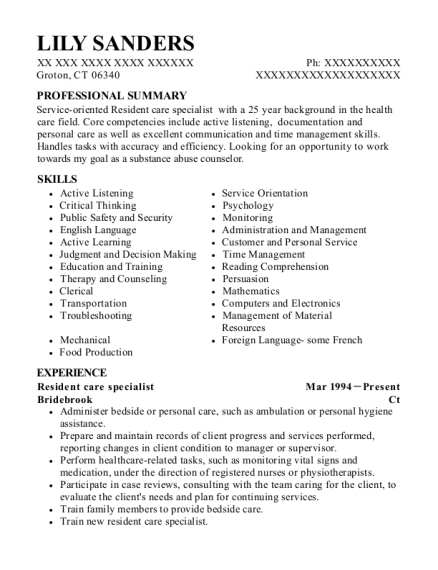 Resident care specialist resume format Connecticut