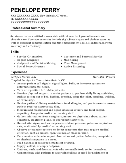 Certified Nurses Aide resume sample Connecticut