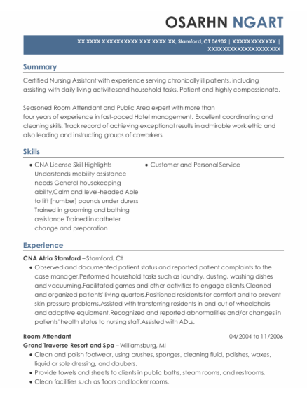 Room Attendant resume format Connecticut