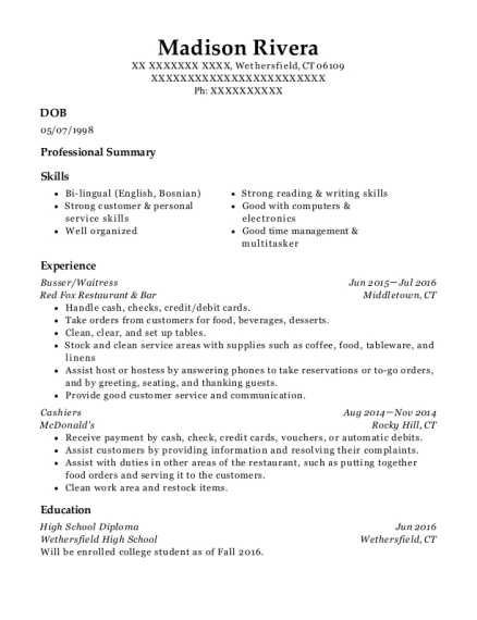 Busser resume format Connecticut