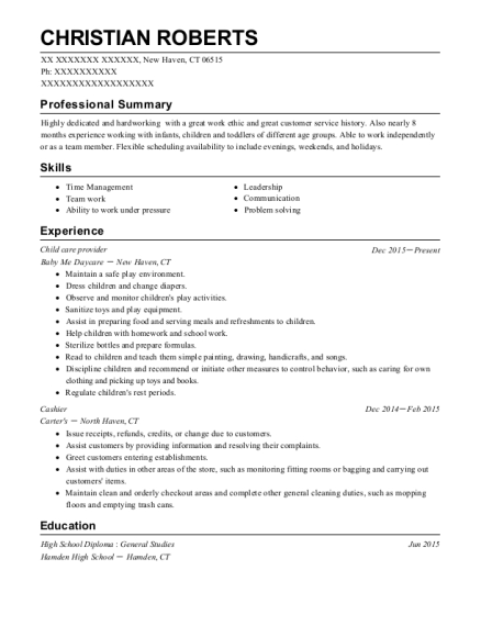 Child care provider resume example Connecticut