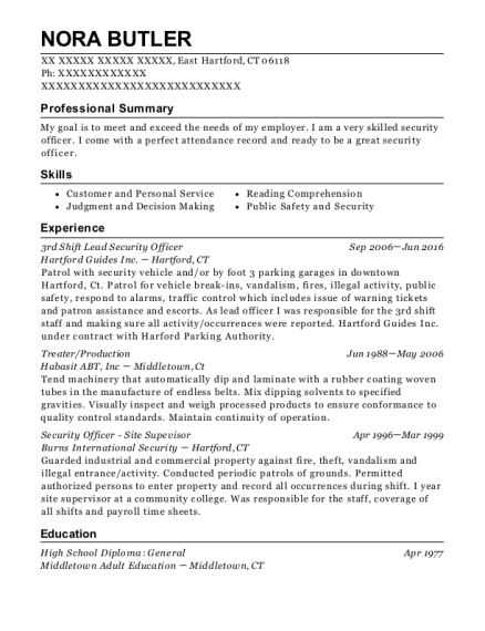 3rd Shift Lead Security Officer resume format Connecticut