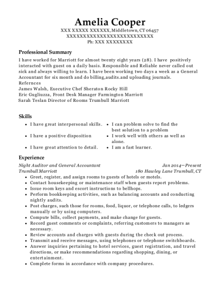 Night Auditor and General Accountant resume template Connecticut