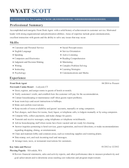 Front Desk Agent resume example Connecticut