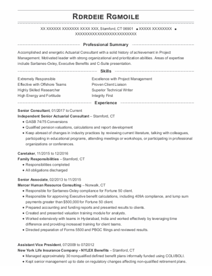 Senior Consultant resume example Connecticut
