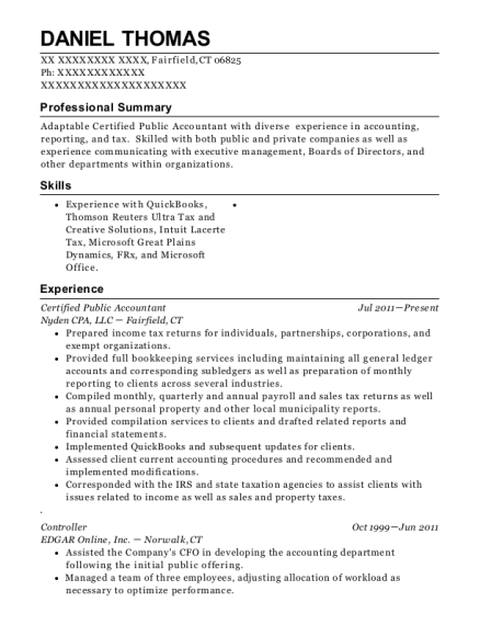 Certified Public Accountant resume format Connecticut