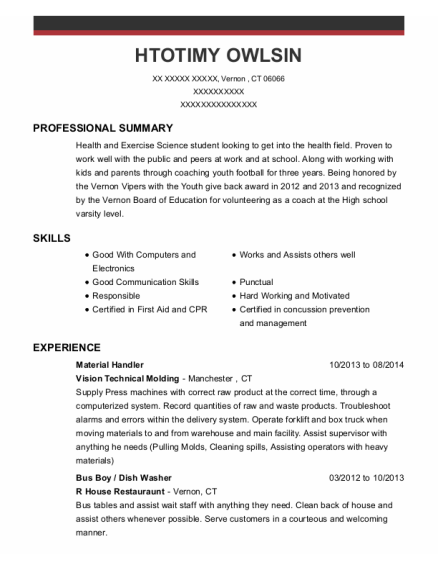 Material Handler resume example Connecticut