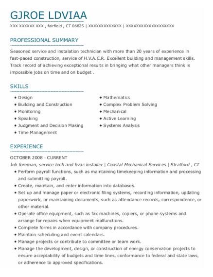 Job Foreman resume template Connecticut