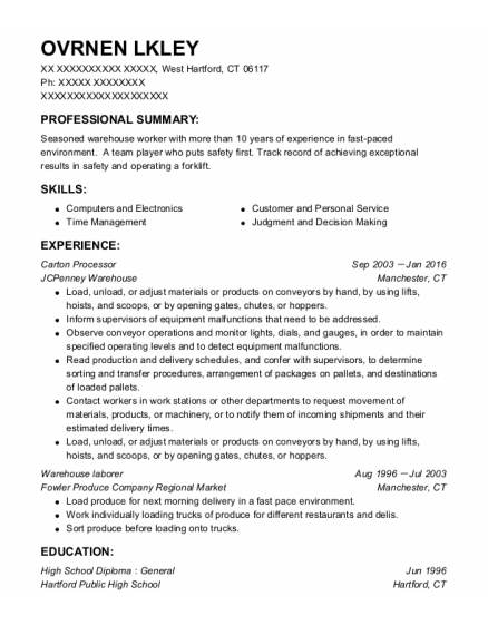 Warehouse Laborer resume example Connecticut