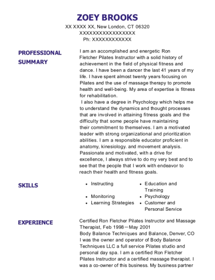 Certified Ron Fletcher Pilates Instructor and Massage Therapist resume sample Connecticut