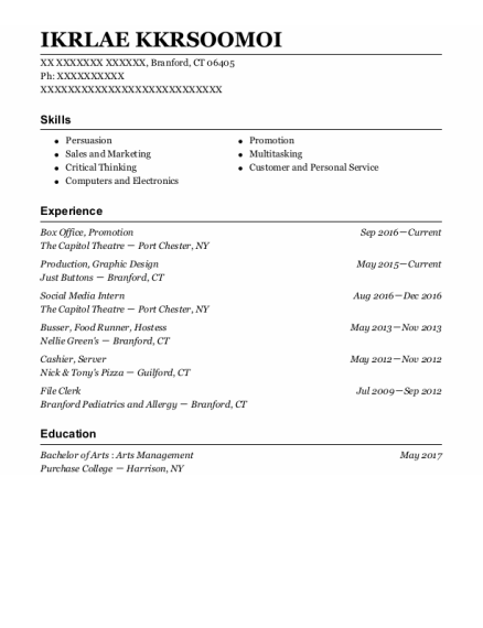 Box Office resume example Connecticut