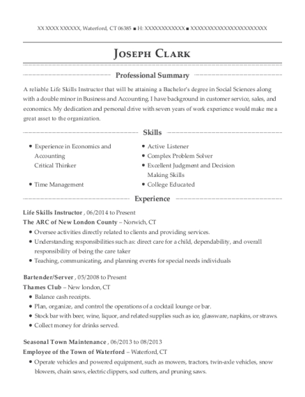 Life Skills Instructor resume template Connecticut