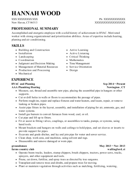 HVAC and Pluming resume template Connecticut
