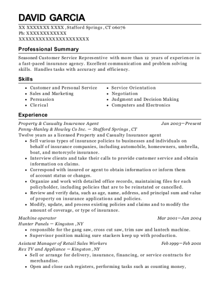 Property & Casualty Insurance Agent resume sample Connecticut