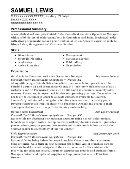 Outside Sales Consultant and Area Operations Manager resume sample Connecticut