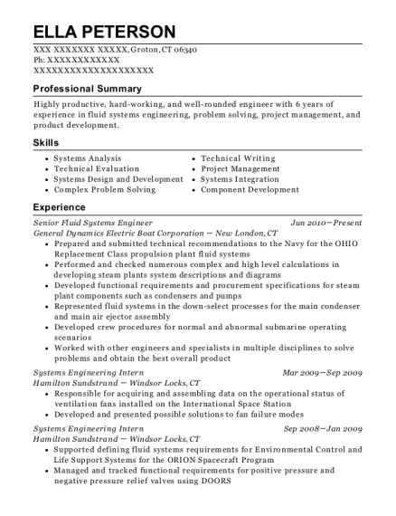 Senior Fluid Systems Engineer resume template Connecticut