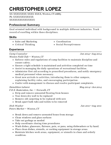 Camp Counselor resume sample Connecticut